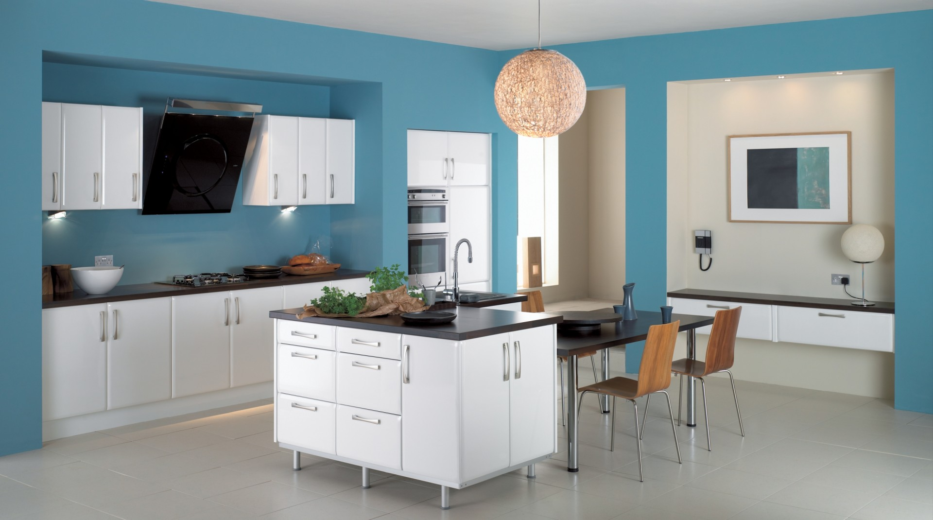 Blue Color Of Kitchen And White On Cabinet Design Awesome Lamp