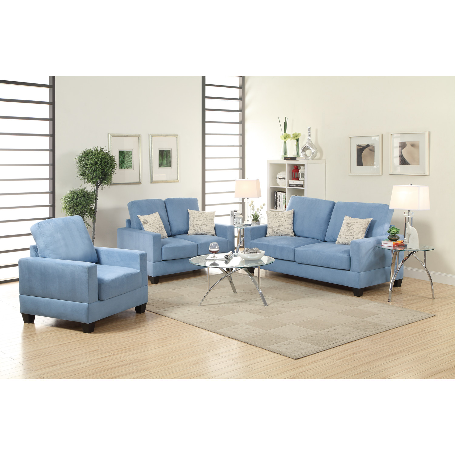 Blue Sectional Sofas And White Pillows Glass Table In The Middle Brown Carpet Simple Lamps Apartment Size