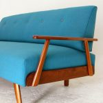 Blue Sofa With Wood Frame
