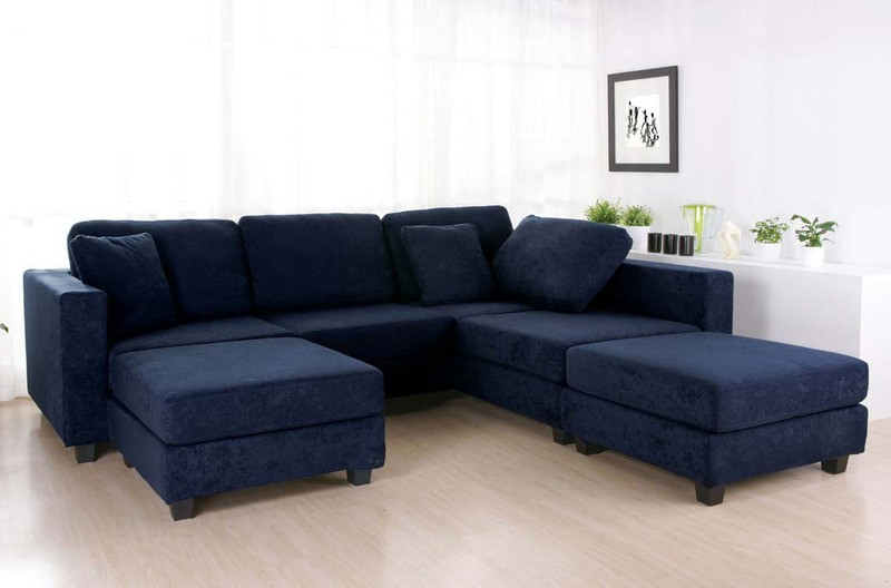 Blue Sectional Sofa With Chaise Light