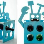 Blue robot with holes as the wine bottle holders