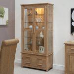 Bright Lighting Of Wooden Cabinet With Glass Door