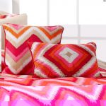 Bright two tone colors applied on pillow cases and bedcover