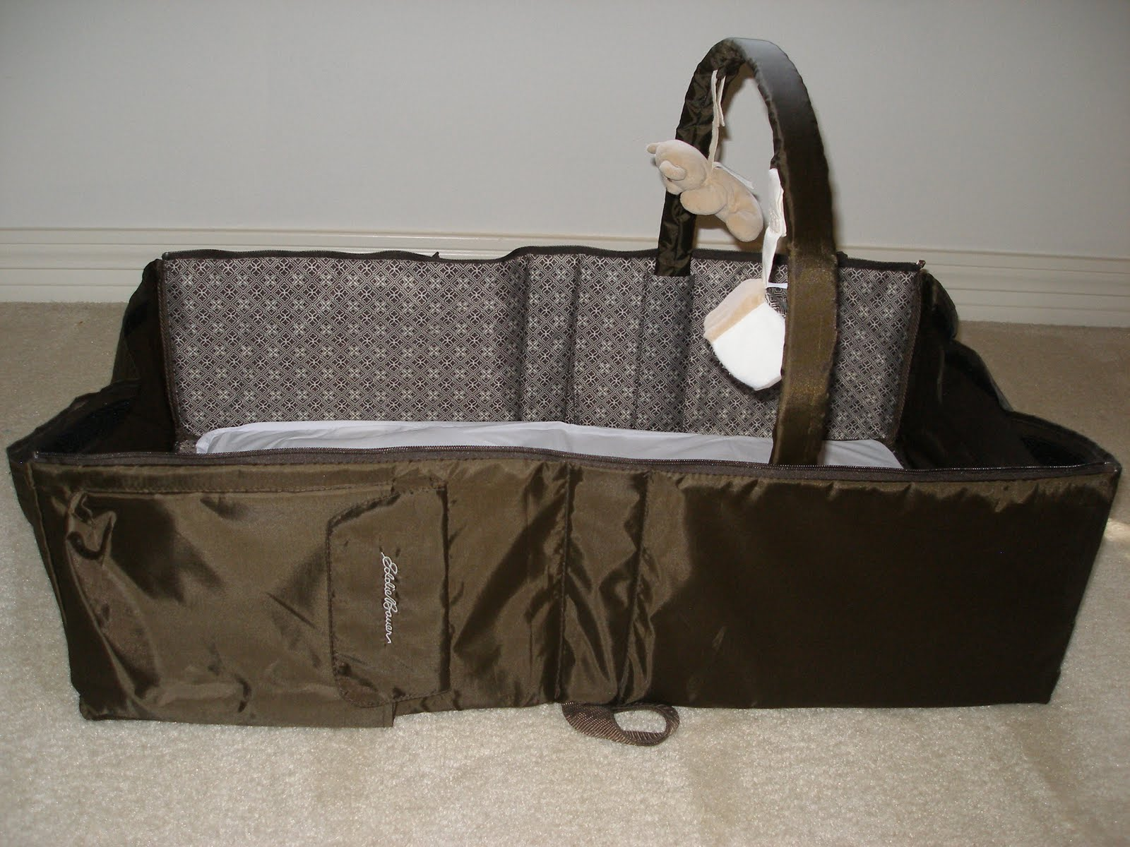 Brown Baby Travel Bed With Accessories