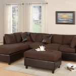 Brown Sectional Big Couch With Table And Grey Rug White Curtains