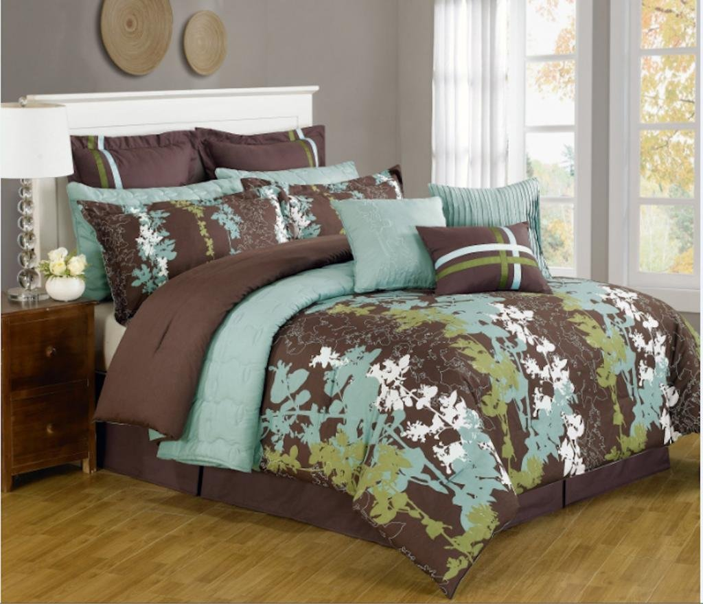 Brown And Teal Bedding Idea For King Bed Frame With White Headboard A  Wooden Bedside Table