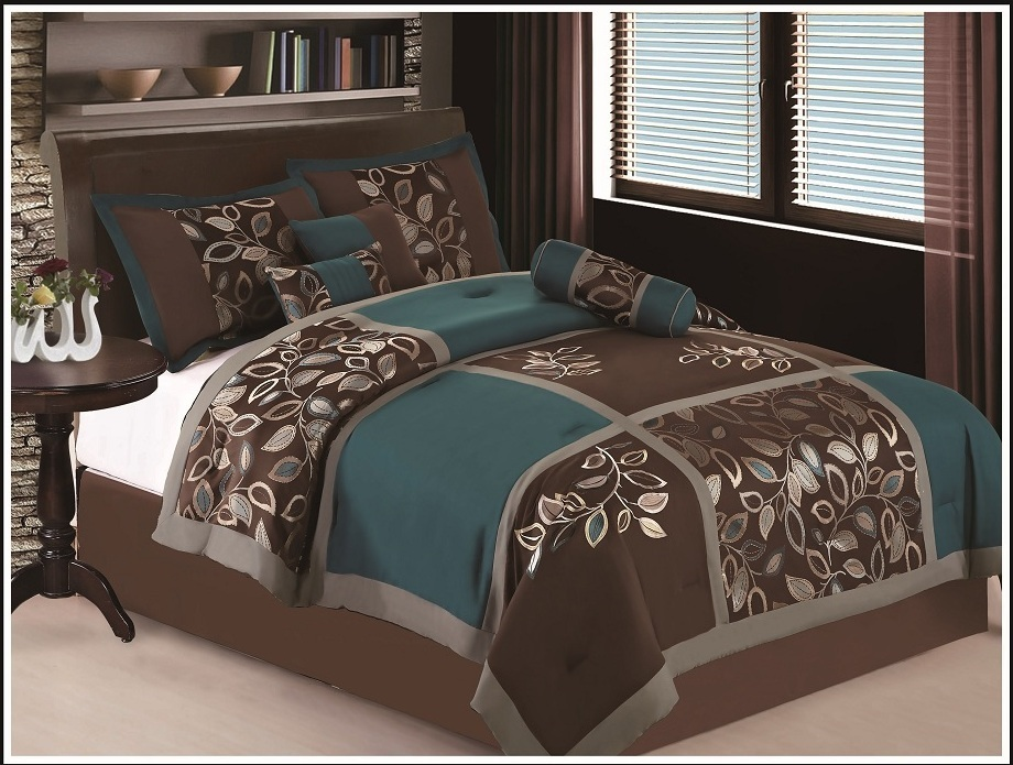 Teal And Brown Queen Size Bedding