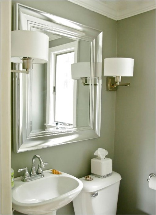 Exceptionnel Brushed Nickel Mirror For Bathroom A Pair Of Vanity Lighting Fixtures A  Toilet A Free Standing