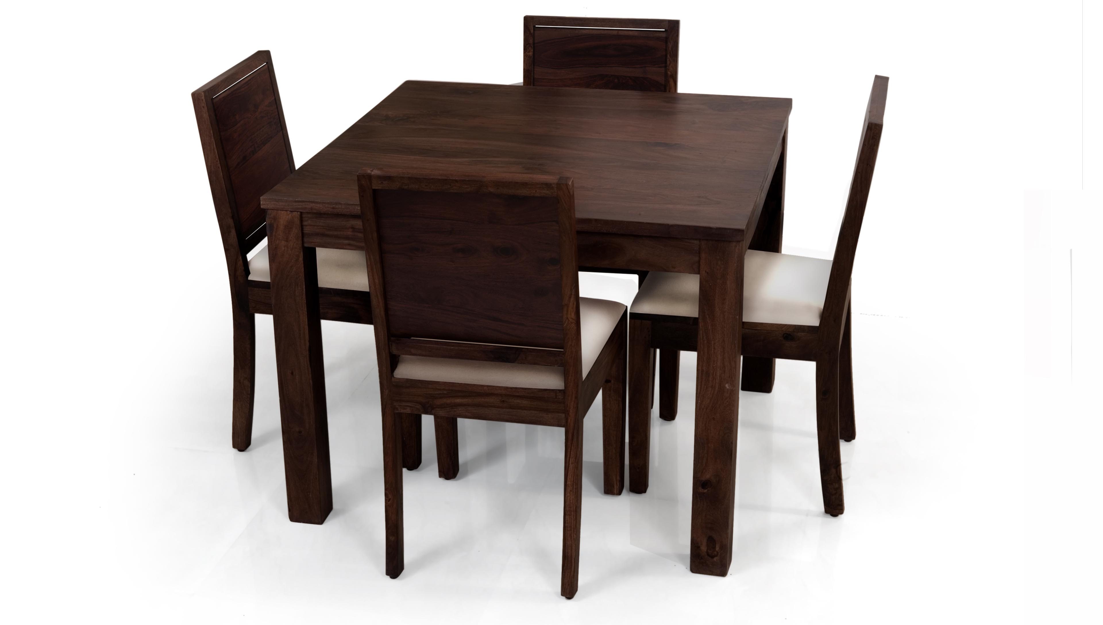 Casual Wooden Design Of Square Dining Room Table WIth Its 4 Chairs