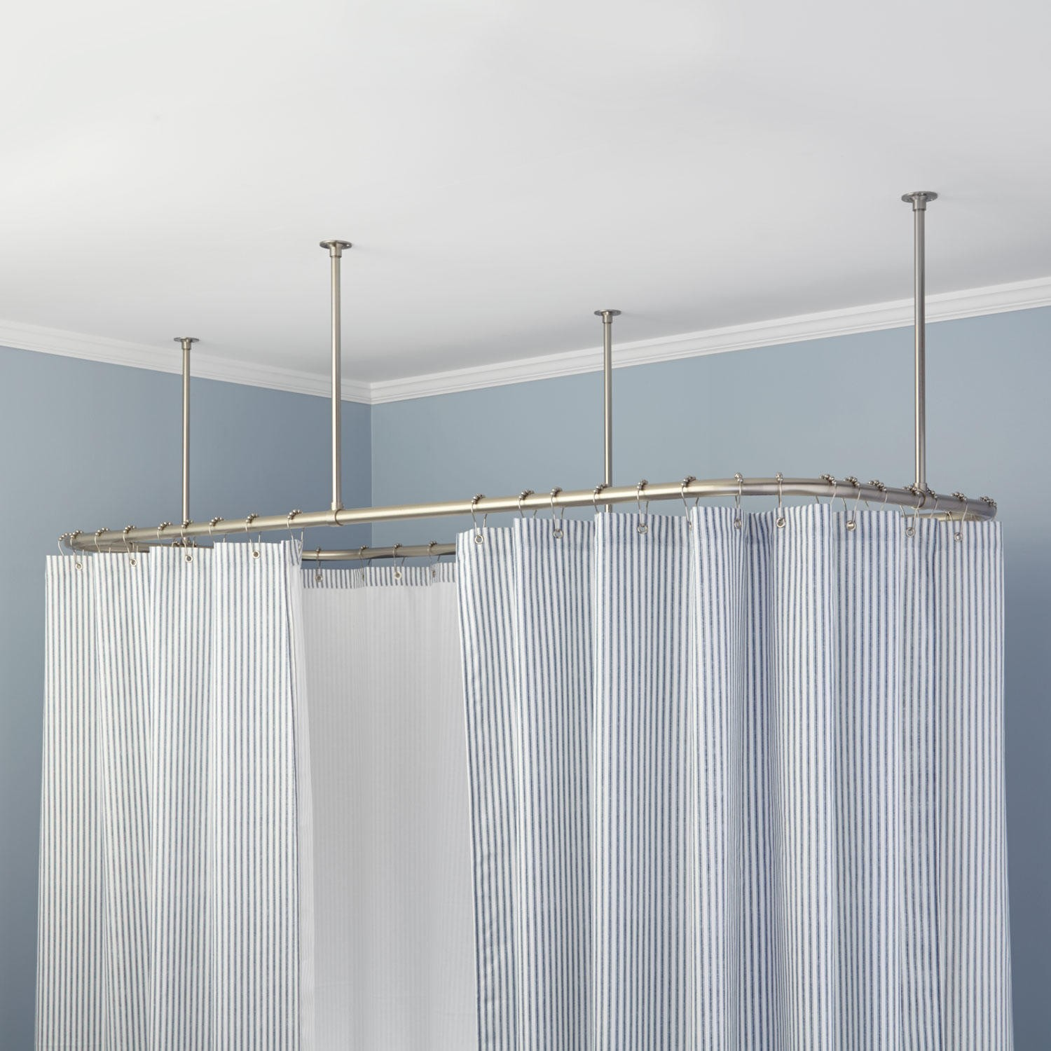 Ceiling Mount Shower Curtain Rig With Striped