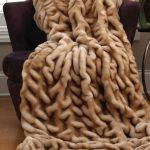Champagne Mink Couture faux fur blanket queen decorated in sofa with brown scheme and attractive motif