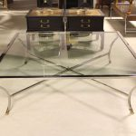 Chrome framed glass coffee table in extra large size and in square shape