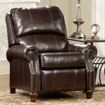 Classic Dark Brown Recliner Near Steel Room And Beautiful Carpet
