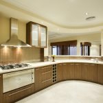 Classic Home Interior Kitchen Design With White Floor Wooden Kitchen Set And Small Lighting