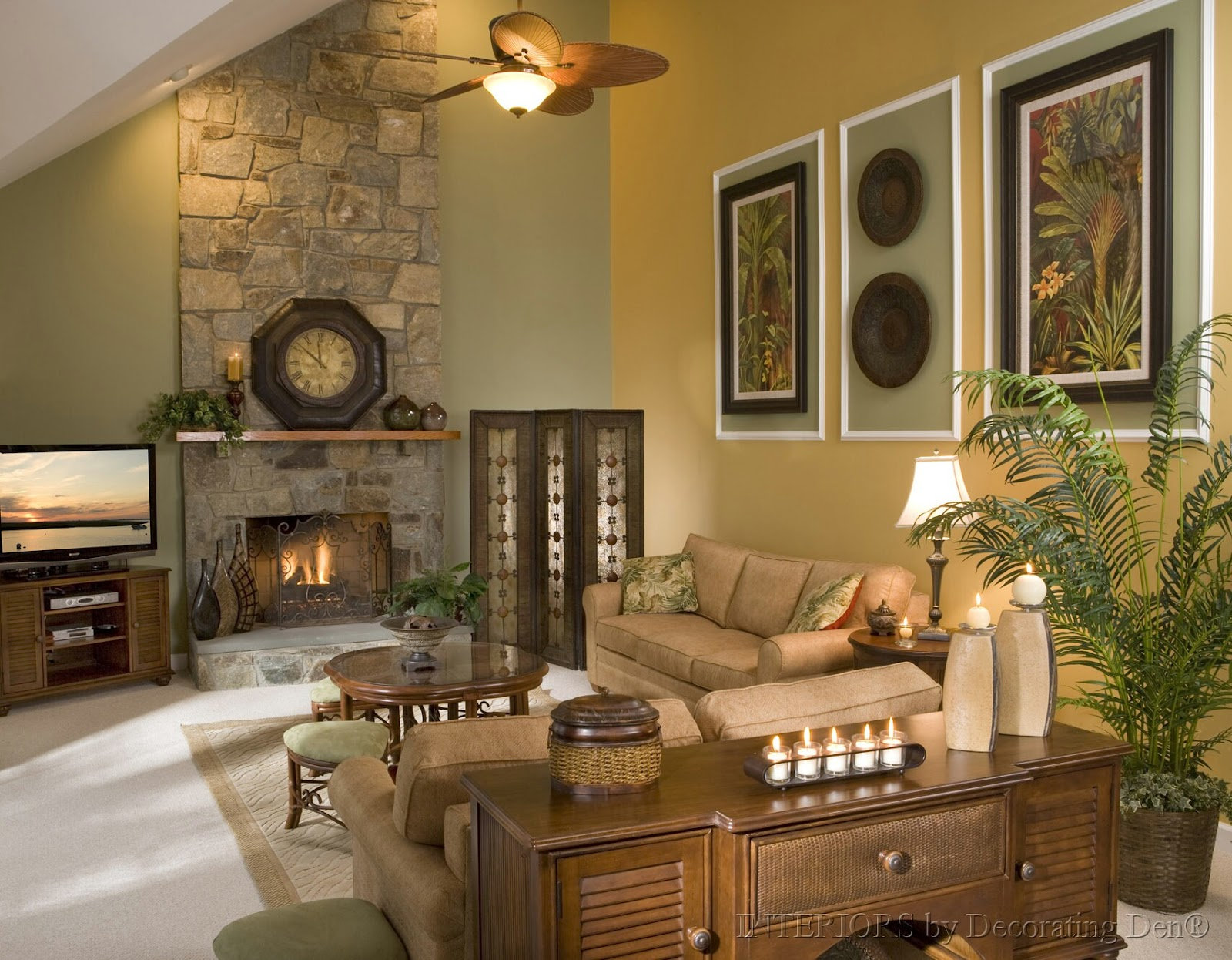 Classic Living Room With Stone Fireplace And Lamp With Fan Plus Warm Sofa  Near The Wooden