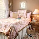 Classic Luxury Rose Bedding Design On Pillows And Blanket Candle And Mirror On Wall White Curtain And Lamp Decorative Carpet