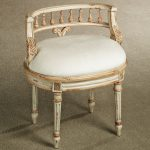 Classic White Vanity Stool With Gold And White