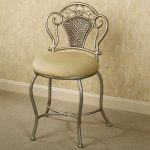Classic bedroom vanity chair with backrest idea with light brown round cushion