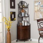 Classic wrought iron shelves with under wood cabinet in darker brown coat