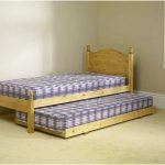 Clear line wood bed frame with headboard and movable pull out bed frame