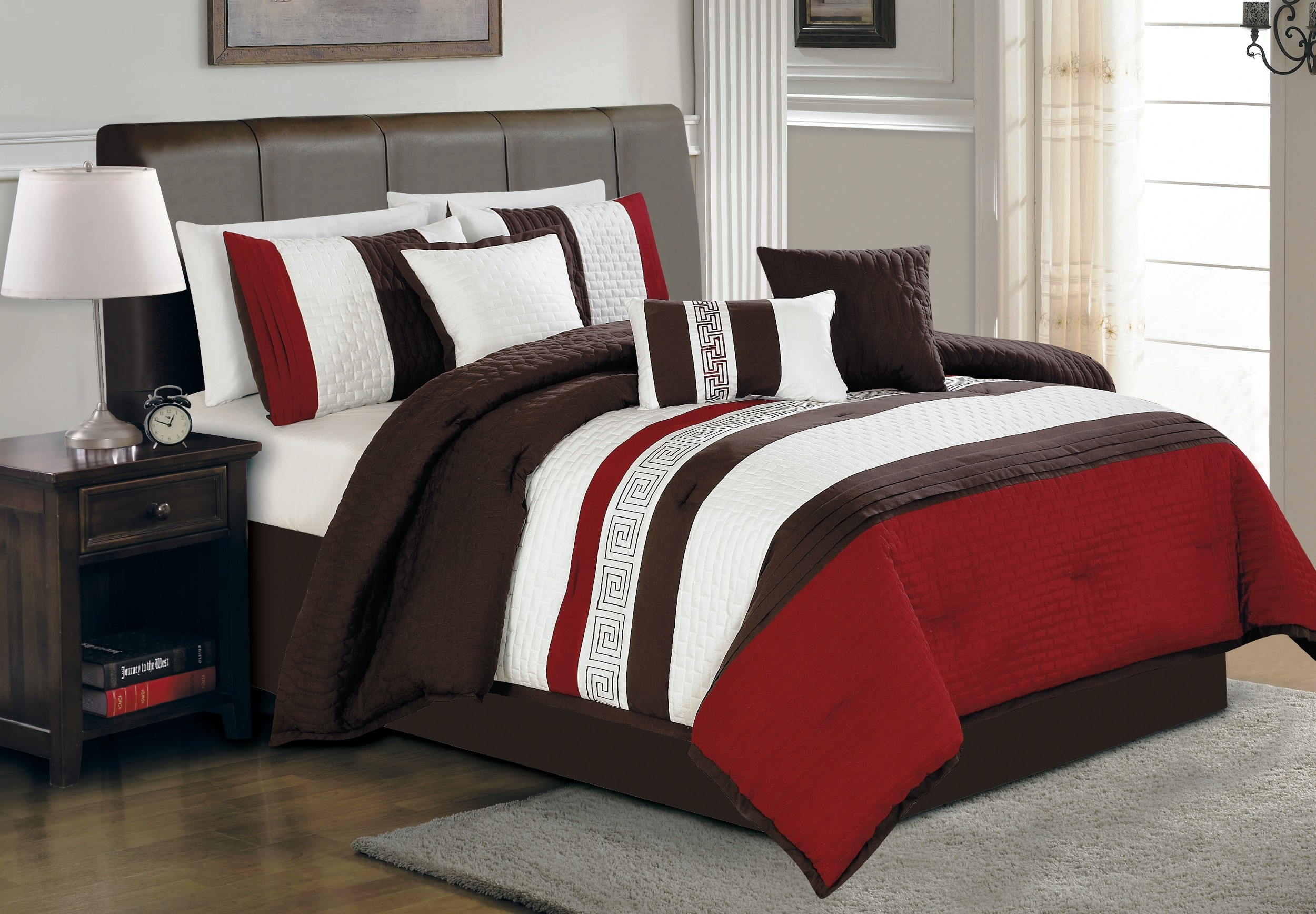 Modern bed sheet design - Colorful Bed Sheet With Brown Bed Frame And Cabinet Hardwood Floor With Grey Rug