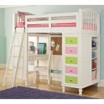 Colorful Bunk Bed Style With Desk For Kids With Shelfs And Stairs Near Purple Rug