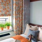 Colorful Flower Orange And White Bedroom On Its Curtain And Shader Pillows