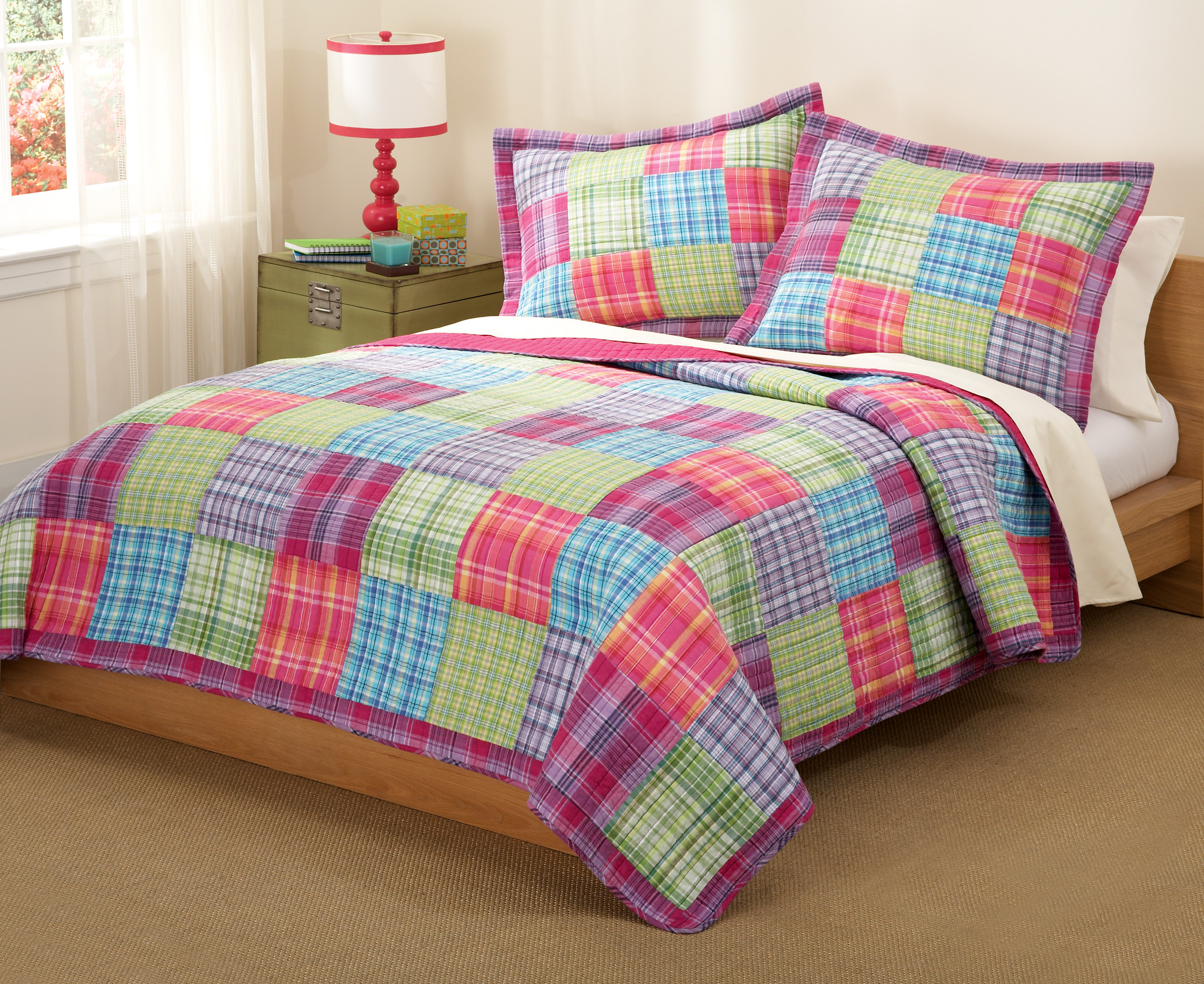 Modern bed sheets pattern - Colorful Pattern Of Bed Sheet With Simple Brown Bed Frame And Carpet Small Lamp