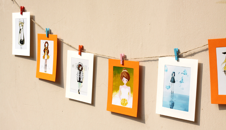 Colorful photo hanging clips