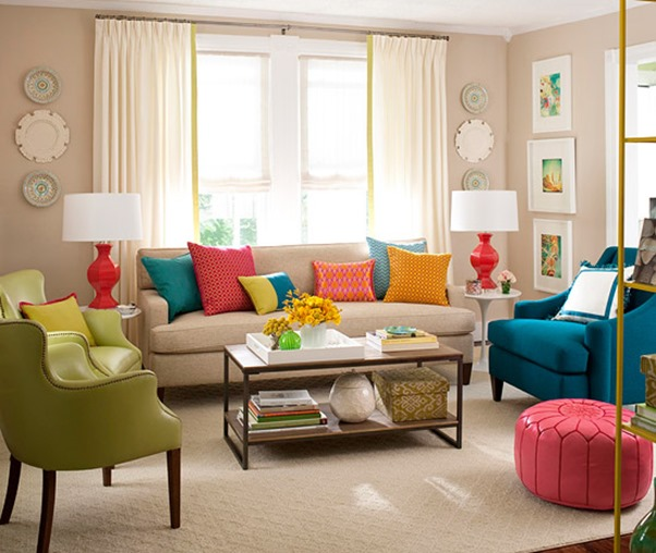 colorful pillows in various sizes a white sofa and two armchairs in blue and green colors accent pillows for sofa