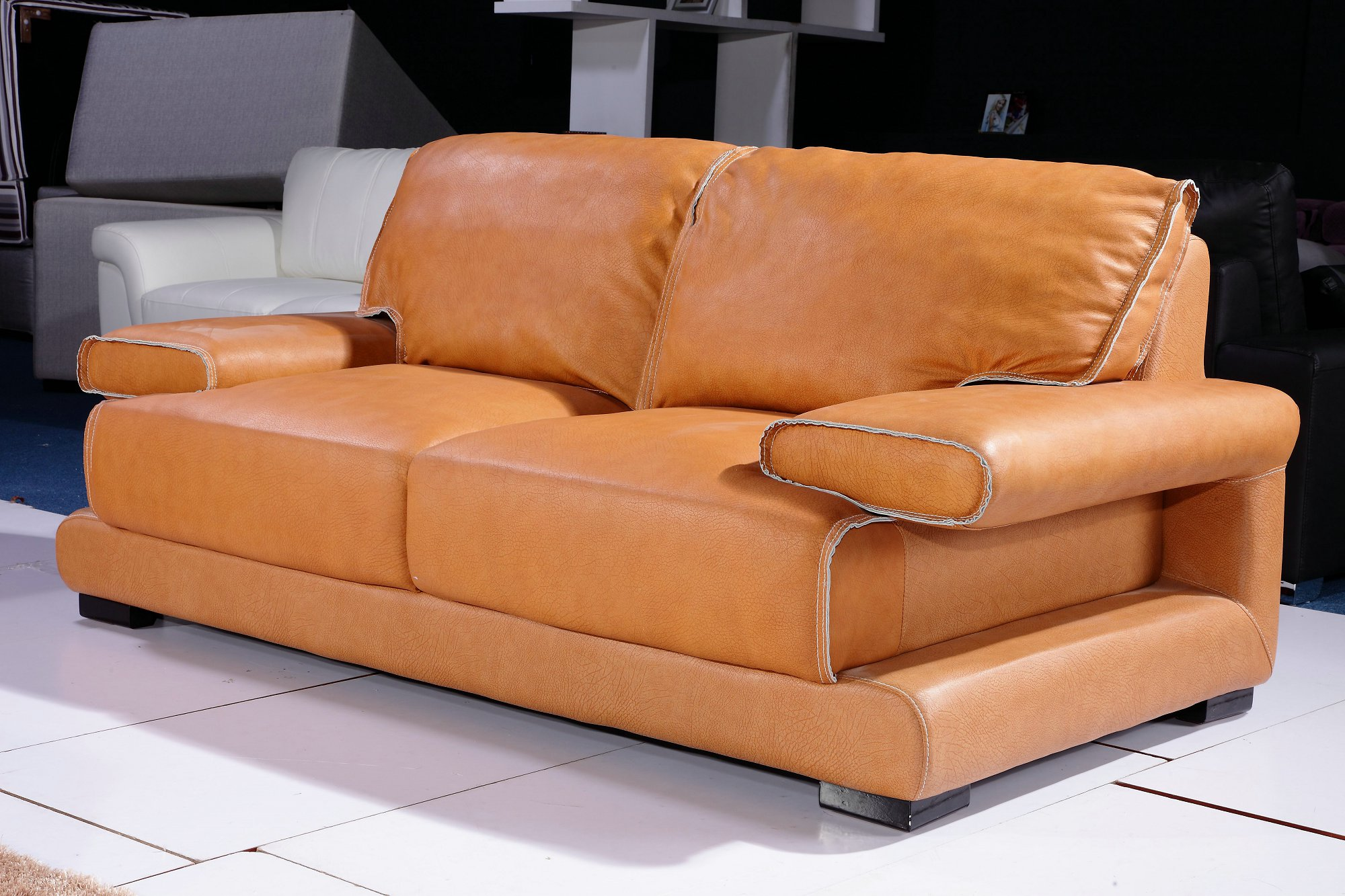 Orange Leather Couch Furniture - HomesFeed