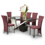 Contemporary Dinette Set With Glass Table And 6 Red Chairs