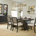 Contemporary Modern Dining Room With Cool Chandelier Rug And Wooden Furniture Set With Accessories