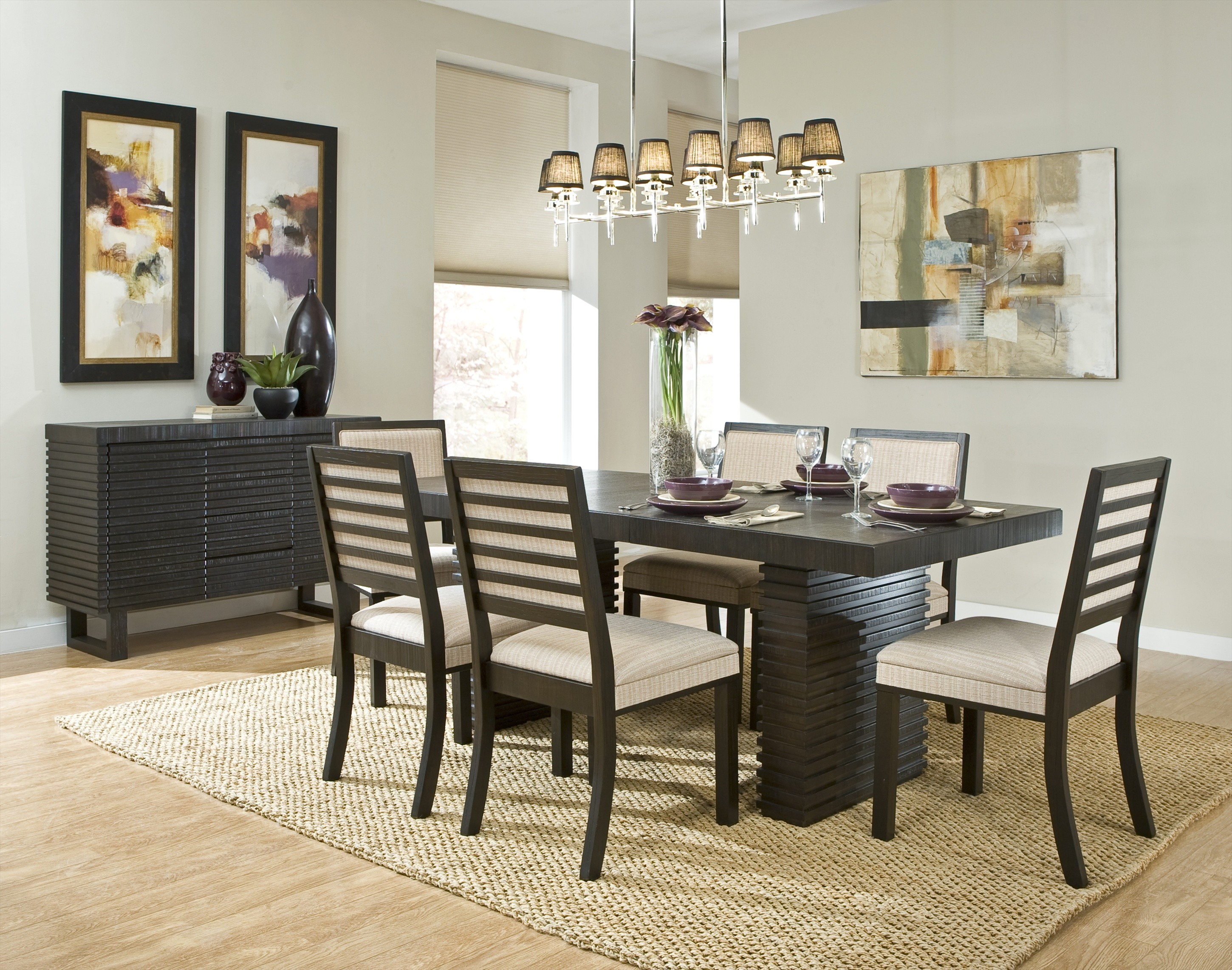 Modern dining table accessories - Contemporary Modern Dining Room With Cool Chandelier Rug And Wooden Furniture Set With Accessories