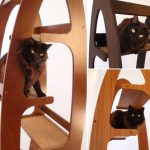 Contoure-modern-cat-tree-by-whisker-studio-with-light-red-dark-brown-and-bright-brown-color-design