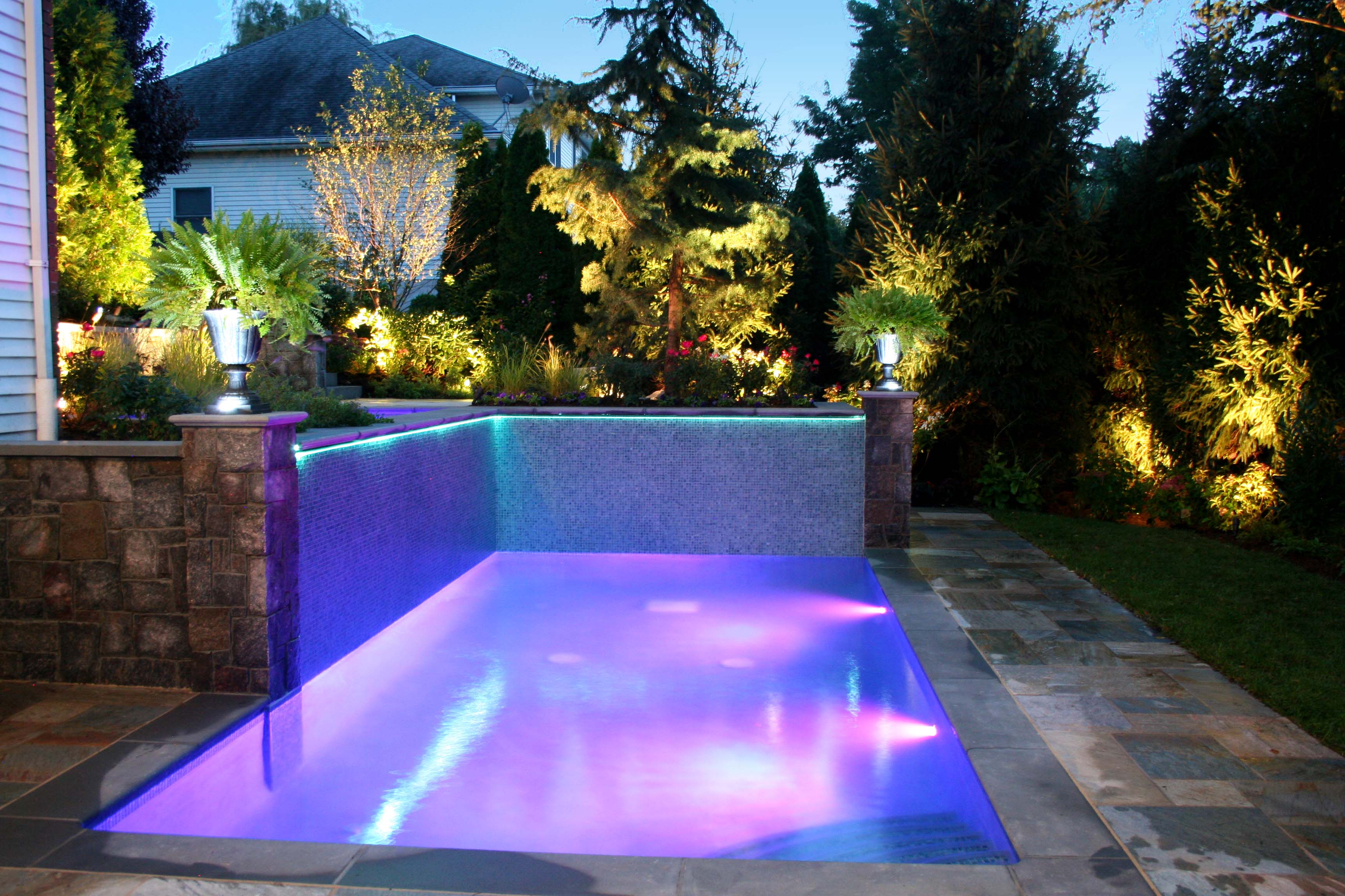cool lighting of small rectangular pool floating swimming pool fountain water - Rectangle Pool With Water Feature