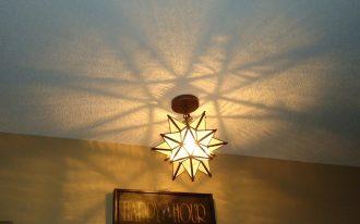 Cool Moravian Star Ceiling Light Near Frame