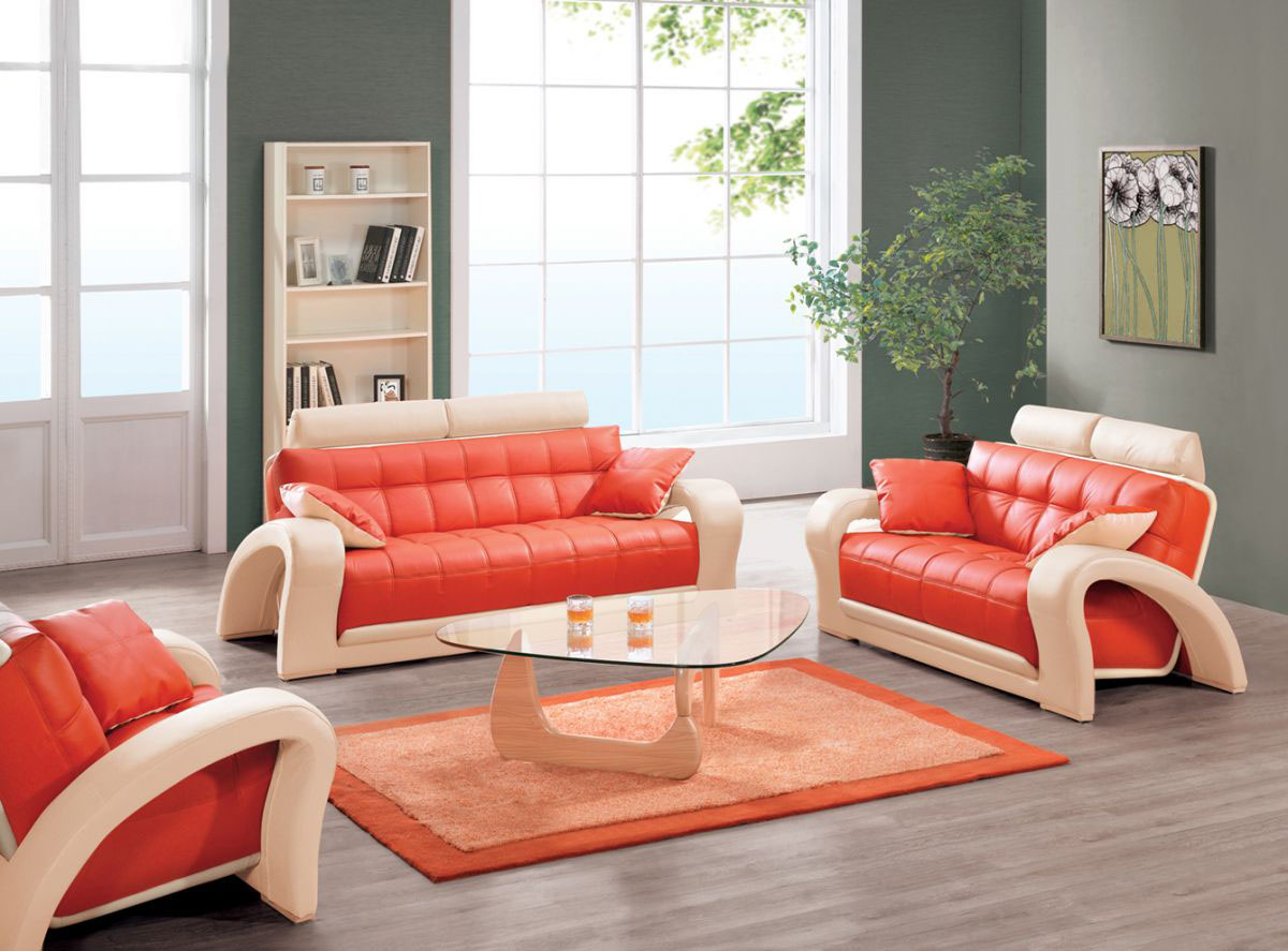 Cool And Unique Leather Couch Sets In Orange Color With Orange Leather  Pillows A Glass Top