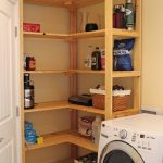 Corner wooden shelves idea for a laundry room a unit of washing machine