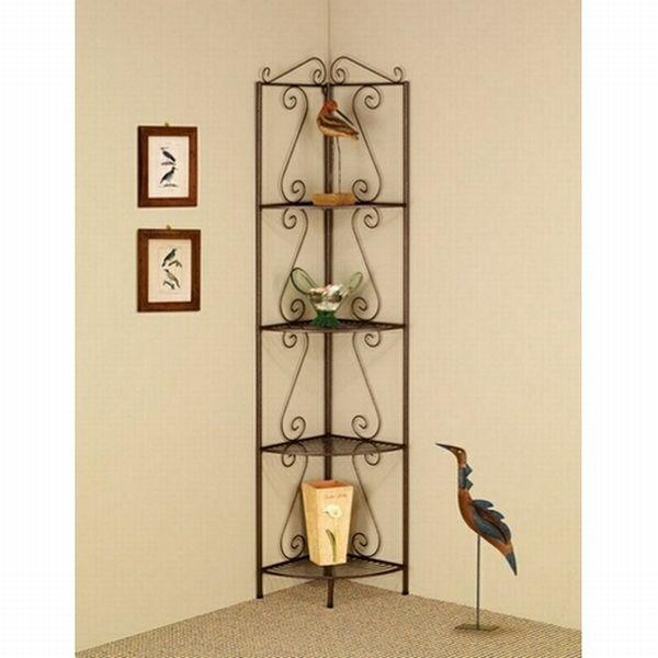 corner wrought iron shelves idea
