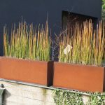 Corten steel planter idea for outdoor