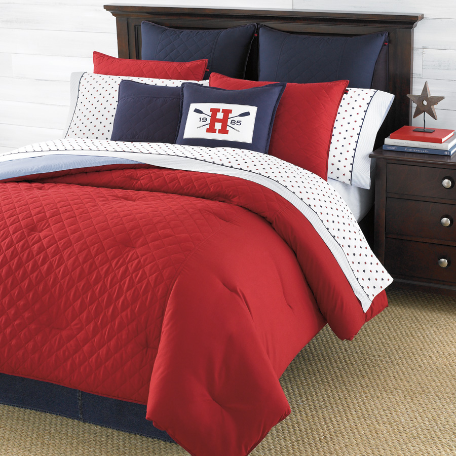 Cozy Red Comforter With White Colour In Another Side