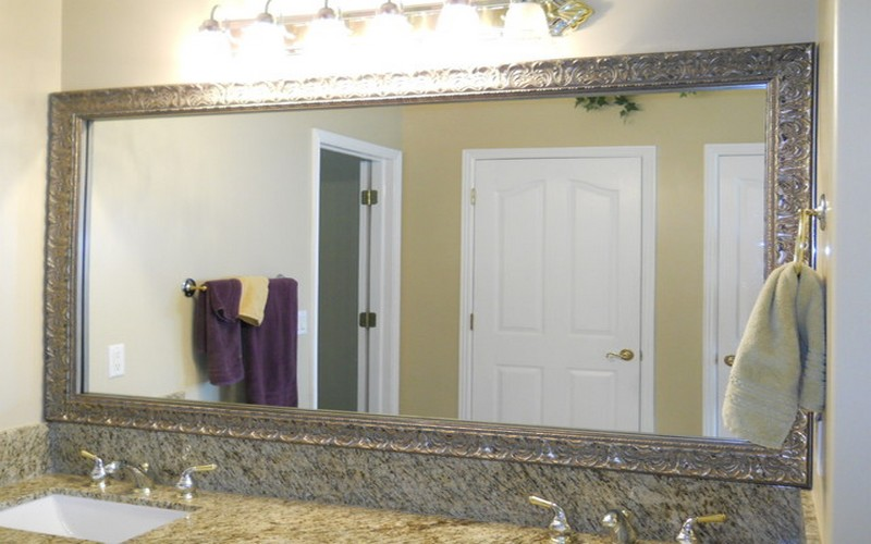 Bon Crafted Nickel Frame For Large Bathroom Vanity Mirror