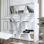 Creative and cool white minimalist book rack idea as small room divider