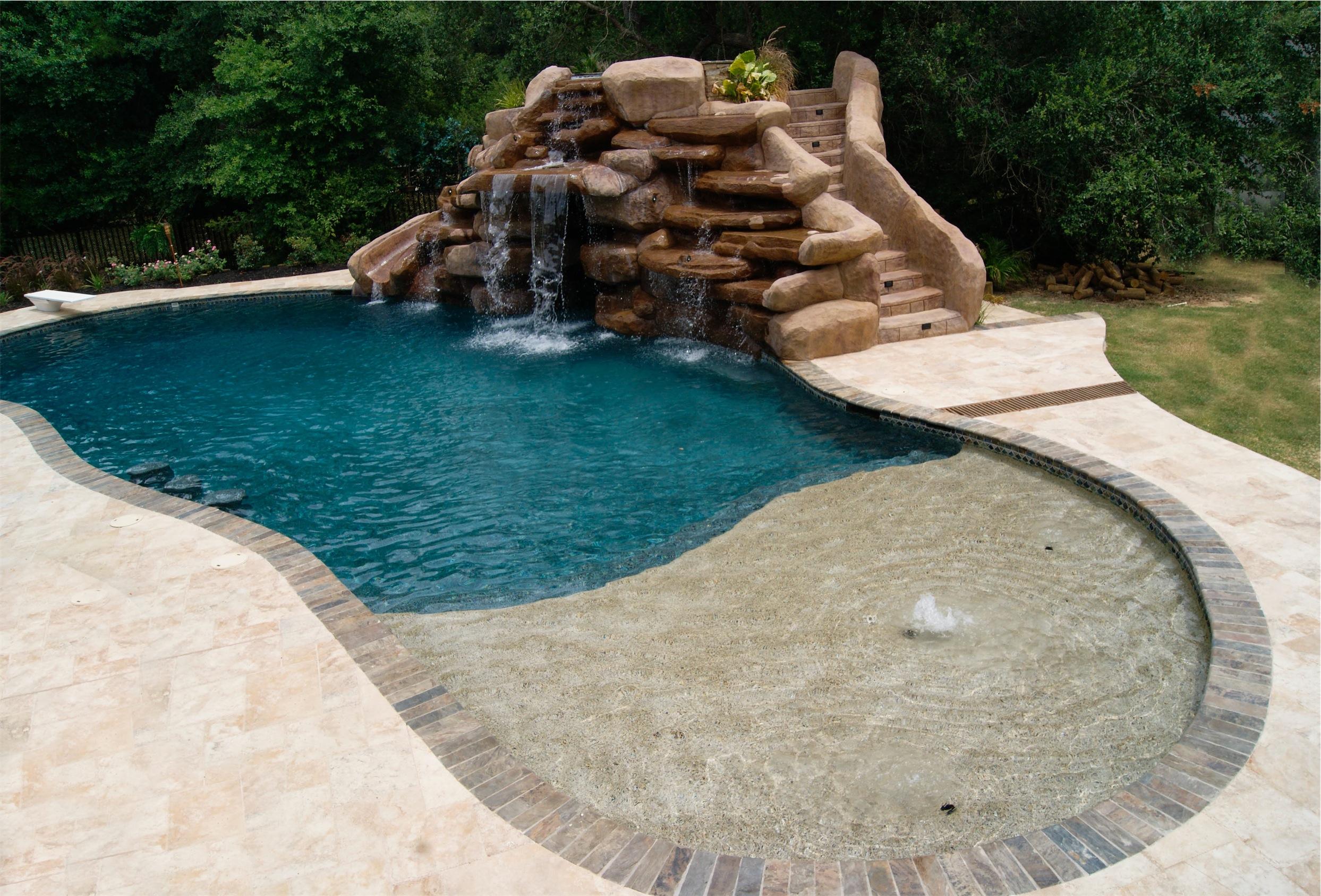 inground pool waterfalls. Custome Pool With Rocks Waterfall And Stairs Inground Waterfalls L
