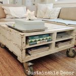 DIY Coffee Table on Wheels Using Pallets WIth Awesome Couch And Its Pillows