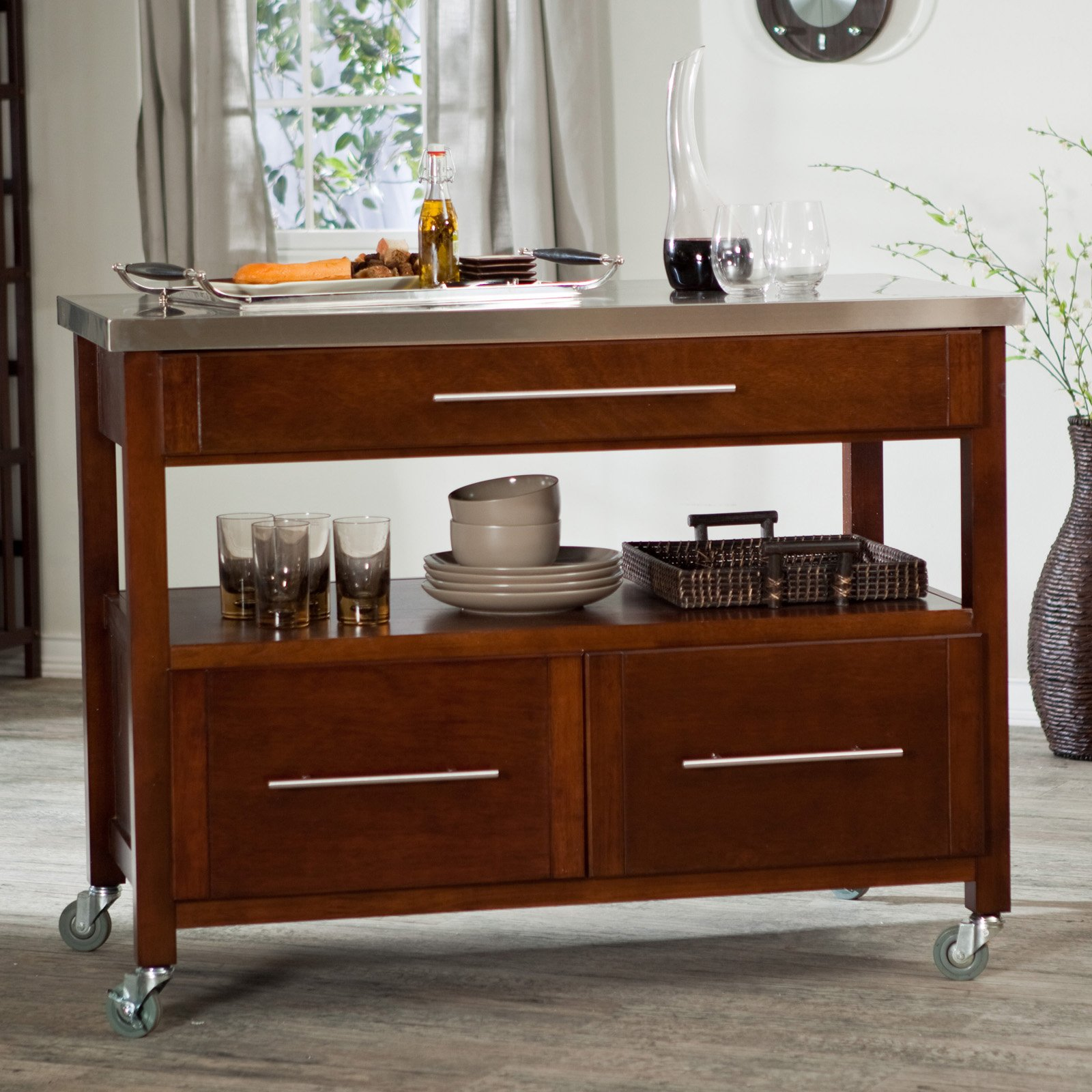 Attractive Dark Brown Kitchen Island With Drawers And Rolling