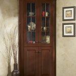 Dark Brown Laminated Wooden Cabinet With Glass Door