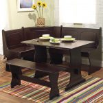 Dark Wooden Dining Room Set Nook Table And Chairs Decor With Colorful Rug