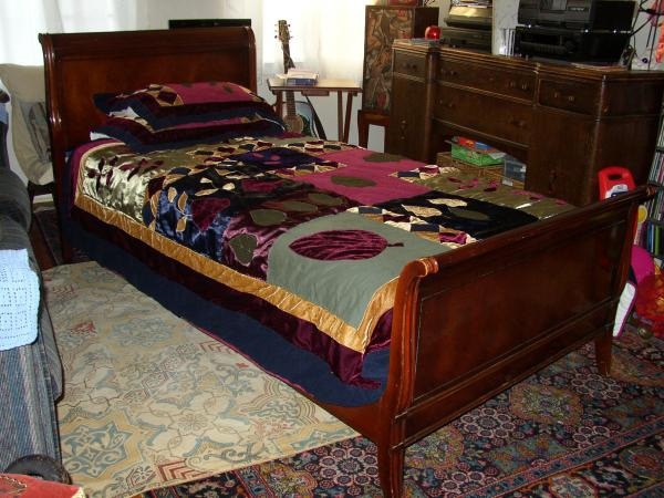 dark brown stained wood single sleigh bed which is made from cherry wood - Twin Sleigh Bed